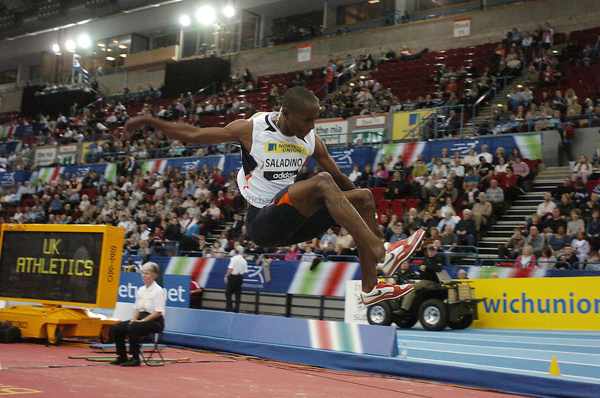 Photo: Richard Lane..Norwich Union Indoor Grand Prix, Birmingham. 17/02/2007. .Panama's Irving Saladino in the men's long jump.