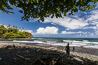 People enjoy a day at Honoli'i Beach Park and Bay, Hilo, Big Island.