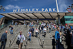 Grimsby Town and Bristol Rovers fans arrive ahead of the 2015 Vanarama Conference Promotion Final match between Grimsby Town and Bristol Rovers at Wembley Stadium, London<br /> Picture by David Horn/eXtreme aperture photography +44 7545 970036<br /> 17/05/2015