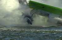 Frame 2: Wyatt Nelson suffers a major crash during the final when the stuffing box in his new Seebold F1 hull tears away from the boat during a turn..PROP-Cypress Gardens Shootout, Winter Haven, Florida, USA 22 October,2000 copyright©F.Peirce Williams 2000..F.Peirce Williams .photography.P.O.Box 455  Eaton,OH 45320 USA.p: 317.358.7326  e: fpwp@mac.com