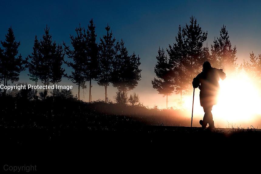 05-11-2010 A primera hora de esta mañana un peregrino de Madrid antes de llegar a Palas de Rei. Su intencion es llegar el Sabado por la tarde y poder ver al Papa. foto:Pedro Agrelo