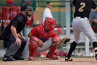 Philadelphia Phillies catcher Nick Matera (7) and umpire John Mang during a minor league Spring Training game against the Pittsburgh Pirates on March 13, 2019 at Pirate City in Bradenton, Florida.  (Mike Janes/Four Seam Images)