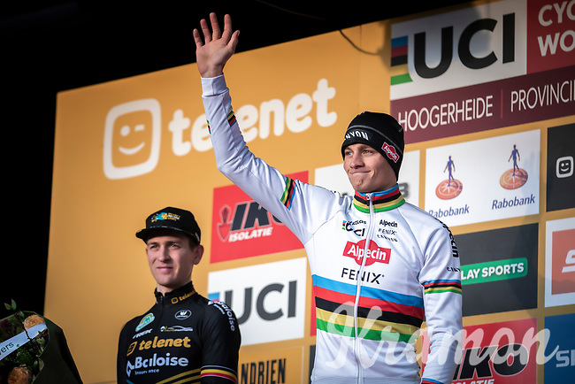 podium with race winner Mathieu Van der Poel (NED/Alpecin Fenix) <br /> <br /> Men Elite Race<br /> UCI Cyclocross Worldcup – Hoogerheide (Netherlands)<br /> <br /> ©kramon