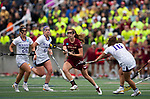 STONY BROOK, NY - MAY 27: Sam Apuzzo #2 of the Boston College Eagles during the Division I Women's Lacrosse Championship held at Kenneth P. LaValle Stadium on May 27, 2018 in Stony Brook, New York. (Photo by Ben Solomon/NCAA Photos via Getty Images)