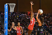 7th September 2017, Te Rauparaha Arena, Wellington, New Zealand; Taini Jamison Netball Trophy; New Zealand versus England;  Silver Ferns Maria Tutaia looks to shoot with Englands captain Ama Agbeze guarding