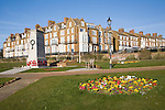 War memorial and seafront buildings at Hunstanton, Norfolk, England
