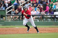 Tyler Sullivan (2) of the Kannapolis Intimidators takes off for second base against the Rome Braves at Kannapolis Intimidators Stadium on April 12, 2017 in Kannapolis, North Carolina.  The Braves defeated the Intimidators 4-3.  (Brian Westerholt/Four Seam Images)
