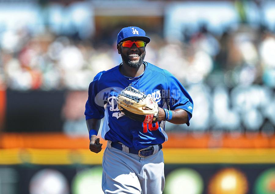 Mar. 28, 2012; Scottsdale, AZ, USA; Los Angeles Dodgers outfielder Tony Gwynn Jr in the second inning against the San Francisco Giants at Scottsdale Stadium.  Mandatory Credit: Mark J. Rebilas-