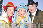 DRESSED UP: Chris McGillicuddy, Sarah Mangan and Ger OConnor all dressed up for the Calamity Dame pantomime in the Killorglin CYMS last Sunday..
