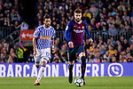 Gerard Pique Bernabeu of FC Barcelona (R) in action against Willian Jose da Silva of Real Sociedad (L) during the La Liga match between Barcelona and Real Sociedad at Camp Nou on May 20, 2018 in Barcelona, Spain. Photo by Vicens Gimenez / Power Sport Images
