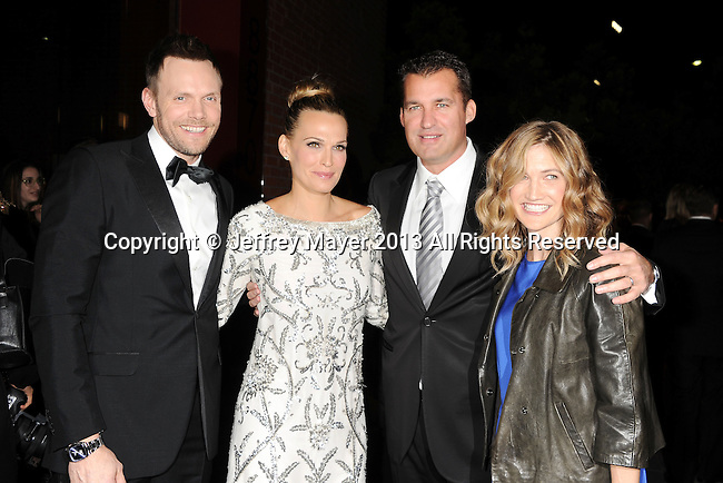 CULVER CITY, CA- NOVEMBER 09: (L-R) Host/actor Joel McHale, actress Molly Sims, producer Scott Stuber and Sarah Williams arrive at the 2nd Annual Baby2Baby Gala at The Book Bindery on November 9, 2013 in Culver City, California.