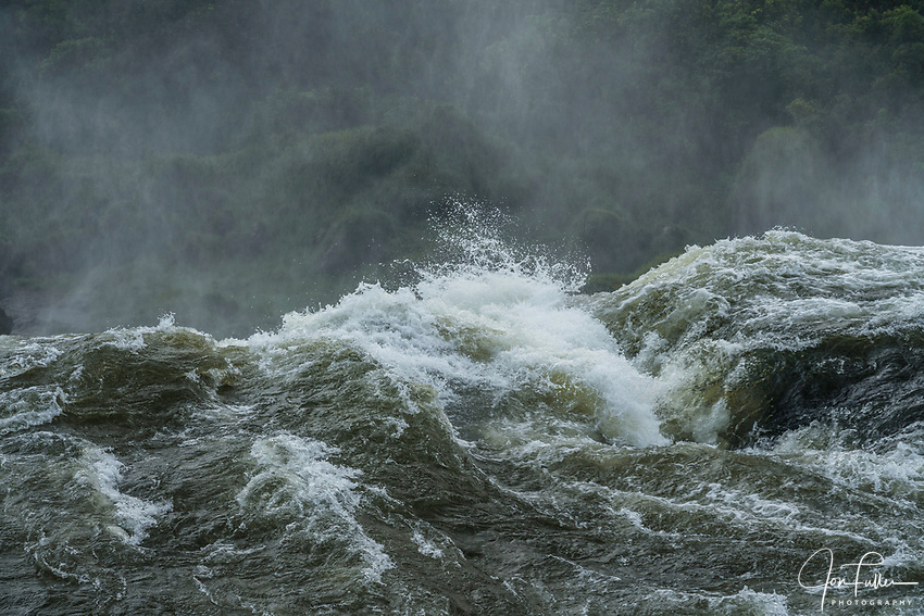 A detaied image of water going over the falls at Iguazu Falls National Park in Argentina.    A UNESCO World Heritage Site.