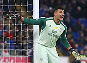 2nd February 2019, Cardiff City Stadium, Cardiff, Wales; EPL Premier League football, Cardiff City versus AFC Bournemouth; Neil Etheridge of Cardiff City shouts instructions to his defenders during a freekick