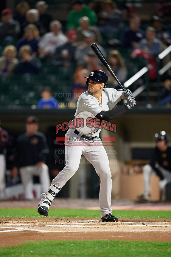 New York Yankees first baseman Greg Bird (33), on a rehab assignment with the Scranton/Wilkes-Barre RailRiders, at bat during the second game of a doubleheader against the Rochester Red Wings on August 23, 2017 at Frontier Field in Rochester, New York.  Rochester defeated Scranton 1-0.  (Mike Janes/Four Seam Images)