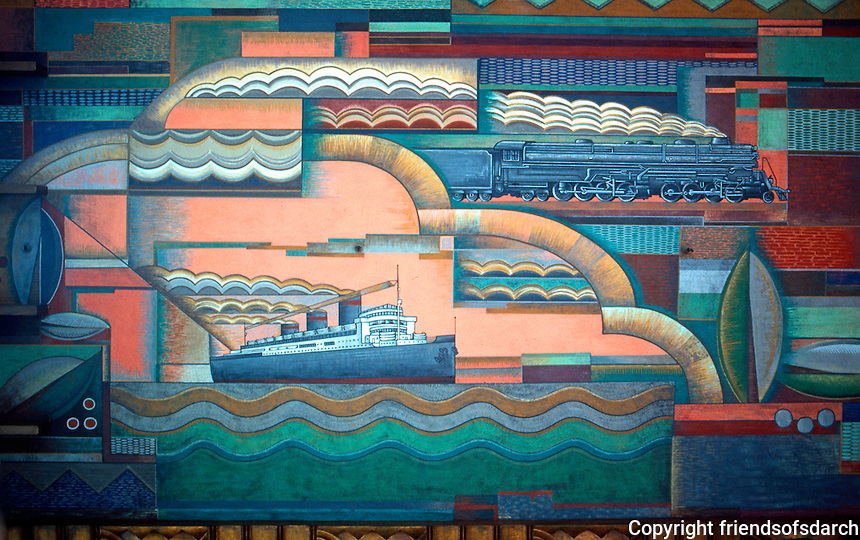 Los Angeles: Bullocks-Wilshire Porte Cochere. Ceiling mural by Herman Sachs, 1929. Photo '82.