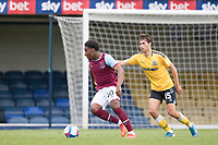 Oladapo Afolayan, West Han U21's looks to turn inside Lewis Gard of Southend United during Southend United vs West Ham United Under-21, EFL Trophy Football at Roots Hall on 8th September 2020