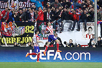 Atletico de Madrid´s Diego Costa (R) celebrates a goal during 16th Champions League soccer match at Vicente Calderon stadium in Madrid, Spain. January 06, 2014. (ALTERPHOTOS/Victor Blanco)