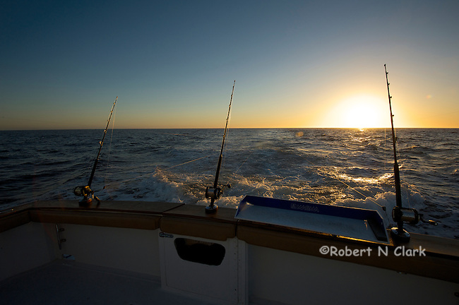 Offshore fishing off the coast of San Diego and Northern Baja California on the sport fisher Faith  Sun going down as we head back in.