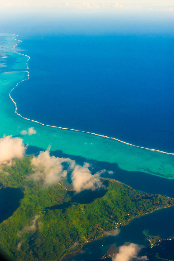 Aerial view, island of Tahaa, French Polynesia.