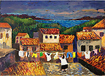 Mougins; Laundry Day<br /> 11x14 Acrylic on Canvas Original Painting<br /> $5,500
