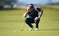 Marcus Fraser of Australia lines up a putt during Round 2 of the 2015 Alfred Dunhill Links Championship at the Old Course, St Andrews, in Fife, Scotland on 2/10/15.<br /> Picture: Richard Martin-Roberts | Golffile