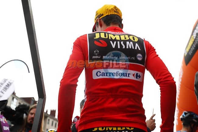 Race leader Primoz Roglic (SLO) Team Jumbo-Visma at sign on before Stage 16 of La Vuelta 2019  running 144.4km from Pravia to Alto de La Cubilla. Lena, Spain. 9th September 2019.<br /> Picture: Luis Angel Gomez/Photogomezsport | Cyclefile<br /> <br /> All photos usage must carry mandatory copyright credit (© Cyclefile | Luis Angel Gomez/Photogomezsport)