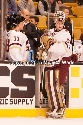 Chuck Van Kula (BC - 33), John Hegarty (BC - Dir-HockeyOps), Thatcher Demko (BC - 30) - The Boston College Eagles defeated the Harvard University Crimson 3-2 in the opening round of the Beanpot on Monday, February 1, 2016, at TD Garden in Boston, Massachusetts.