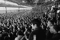 - trade-union assembly in the Arese (Milan) plant of Alpha Romeo car factory ....- assemblea sindacale nello stabilimento della fabbrica di automobili Alfa Romeo di Arese (Milano)