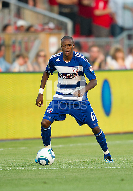 FC Dallas defender/midfielder Jackson Goncalves #6  in action during an MLS game between the FC Dallas and the Toronto FC at BMO Field in Toronto on July 20, 2011..FC Dallas won 1-0.