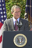 "United States President George W. Bush makes remarks as he names John P. Walters to be the ""Drug Czar"" in the Rose Garden of the White House in Washington, D.C. on May 10, 2001..Credit: Ron Sachs / CNP"