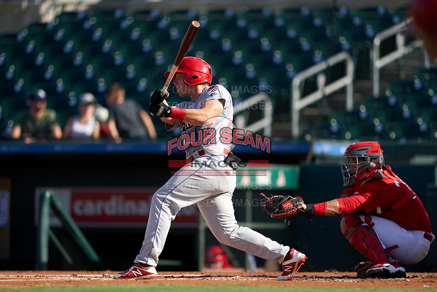 Clearwater Threshers Ben Aklinski (15) bats during a Florida State League game against the Palm Beach Cardinals on August 10, 2019 at Roger Dean Chevrolet Stadium in Jupiter, Florida.  Clearwater defeated Palm Beach 11-4.  (Mike Janes/Four Seam Images)