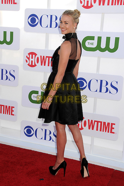 Yvonne Strahovski.CBS, CW, Showtime 2012 Summer TCA Party held at The Beverly Hilton Hotel, Beverly Hills, California, USA..July 29th, 2012.full length dress black sleeveless high collar  hair up sheer looking over shoulder skirt top.CAP/ADM/BP.©Byron Purvis/AdMedia/Capital Pictures.