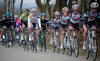Liège-Bastogne-Liège 2013..Gaëtan Bille (BEL) next to Andy Schleck (LUX) in the pack