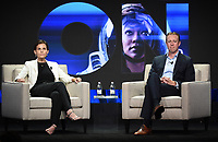 """BEVERLY HILLS - AUGUST 1: CBS Interactive President and COO Marc DeBevoise and CBS All Access Executive VP of Original Content Julie McNamara onstage during the """"CBS All Access Executive"""" panel at the CBS All Access portion of the Summer 2019 TCA Press Tour at the Beverly Hilton on August 1, 2019 in Los Angeles, California. (Photo by Frank Micelotta/PictureGroup)"""