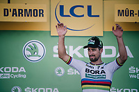 World Champion Peter Sagan (SVK/Bora-Hansgrohe) on the podium to retrieve his green jersey<br /> <br /> Stage 6: Brest > Mûr de Bretagne / Guerlédan (181km)<br /> <br /> 105th Tour de France 2018<br /> ©kramon