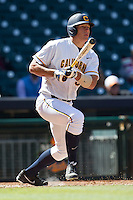California Golden Bears outfield Jacob Wark #51 follows through on his swing against the North Carolina Tar Heels in the NCAA baseball game on March 2nd, 2013 at Minute Maid Park in Houston, Texas. North Carolina defeated Cal 11-5. (Andrew Woolley/Four Seam Images).