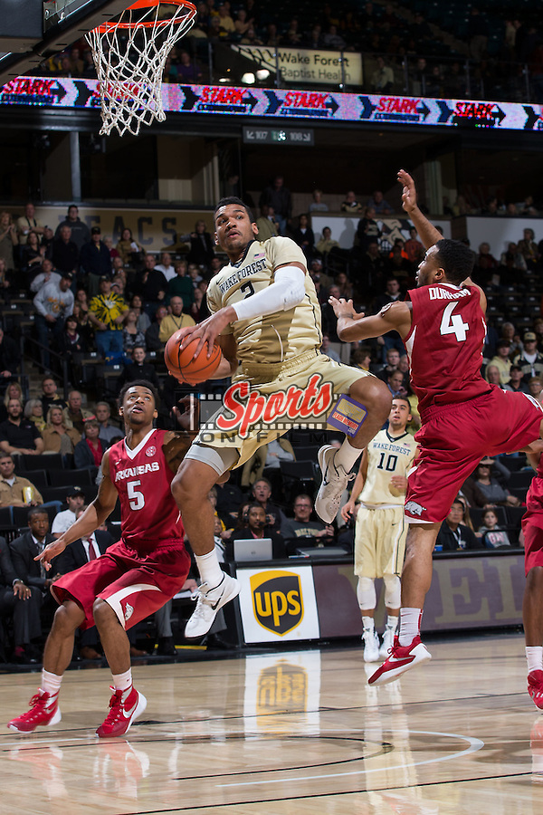 Devin Thomas (2) of the Wake Forest Demon Deacons controls the basketball during first half action against the Arkansas Razorbacks at the LJVM Coliseum on December 4, 2015 in Winston-Salem, North Carolina.  The Demon Deacons defeated the Razorbacks 88-85.  (Brian Westerholt/Sports On Film)