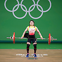 Hiromi Miyake (JPN), AUGUST 6, 2016 - Weightlifting : Hiromi Miyake of Japan competes in the Women's 48kg during the Rio 2016 Olympic Games at Riocentro Pavilion 2 in Rio de Janeiro, Brazil. (Photo by Enrico Calderoni/AFLO SPORT)