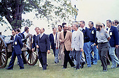 "United States President Jimmy Carter, right, President Anwar Sadat of Egypt, center, and Prime Minister Menachem Begin of Israel, left, tour the U.S. Civil War battlefield in Gettysburg, Pennsylvania accompanied by members of their respective delegations during a break in the Camp David Summit on September 10, 1978 .Credit: Benjamin E. ""Gene"" Forte - CNP"