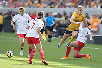 Sandy, UT - Saturday April 14, 2018: Katie Bowen, Alyssa Mautz during a regular season National Women's Soccer League (NWSL) match between the Utah Royals FC and the Chicago Red Stars at Rio Tinto Stadium.