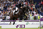August 09, 2009: Rolf-Goran Bengtsson (SWE) aboard Casall La Silla competing in the Grand Prix event. Longines International Grand Prix. Failte Ireland Horse Show. The RDS, Dublin, Ireland.