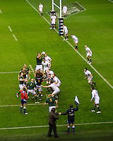 Eben Etzebeth of South Africa wins the lineout on the England line during the QBE Autumn International match between England and South Africa at Twickenham on Saturday 24 November 2012 (Photo by Rob Munro)