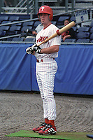 Batavia Muckdogs Chase Utley (8) on deck before his first professional at bat during a game at Dwyer Stadium in Batavia, New York during the 2000 season.  Photo By Mike Janes/Four Seam Images