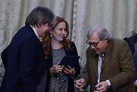 Roma,14 Marzo 2017<br /> Antonio Campo Dall'Orto, Direttore Generale della RAI, Monica Maggioni Presidente RAI e Vittorio Sgarbi.<br /> Presentazione della 25ma edizione delle 'Giornate Fai di Primavera' a Palazzo Chigi
