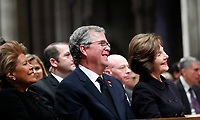 Columba Bush, Jeb Bush and Laura Bush listen as former President George W. Bush speaks during the State Funeral for former President George H.W. Bush, at the National Cathedral, Wednesday, Dec. 5, 2018, in Washington <br /> <br /> CAP/MPI/RS<br /> &copy;RS/MPI/Capital Pictures