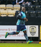Adebayo Akinfenwa of Wycombe Wanderers celebrates scoring the opening goal during the Sky Bet League 2 match between Notts County and Wycombe Wanderers at Meadow Lane, Nottingham, England on 10 December 2016. Photo by Andy Rowland / PRiME Media Images.