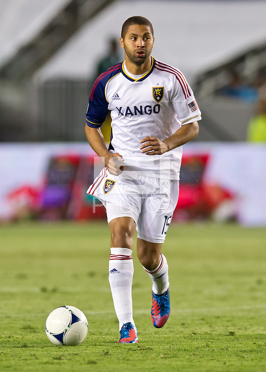 CARSON, CA - June 16, 2012: Real Salt Lake forward Alvaro Saborio (15) during the Chivas USA vs Real Salt Lake match at the Home Depot Center in Carson, California. Final score Real Salt Lake 3, Chivas USA 0.
