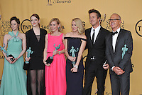 Birdman stars Andrea Riseborough (left), Emma Stone, Amy Ryan, Naomi Watts, Edward Norton &amp; Michael Keaton at the 2015 Screen Actors Guild  Awards at the Shrine Auditorium.<br /> January 25, 2015  Los Angeles, CA<br /> Picture: Paul Smith / Featureflash