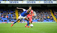 Ipswich Town's Trevoh Chalobah battles with Nottingham Forest's Jo&atilde;o Carvalho<br /> <br /> Photographer Hannah Fountain/CameraSport<br /> <br /> The EFL Sky Bet Championship - Ipswich Town v Nottingham Forest - Saturday 16th March 2019 - Portman Road - Ipswich<br /> <br /> World Copyright &copy; 2019 CameraSport. All rights reserved. 43 Linden Ave. Countesthorpe. Leicester. England. LE8 5PG - Tel: +44 (0) 116 277 4147 - admin@camerasport.com - www.camerasport.com