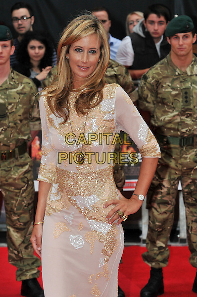 Lady Victoria Hervey.The 'The Expendables 2' UK film premiere, Empire cinema, Leicester Square, London, England..August 13th, 2012.half length white gold beads beaded dress hand on hip train silver .CAP/BF.©Bob Fidgeon/Capital Pictures.